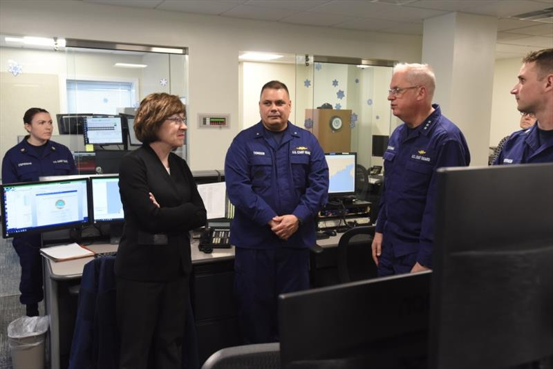 Sen. Susan Collins of Maine joins Vice Adm. Scott Buschman and Rear Adm. Andrew Tiongson on a tour of the new $2.3M command center at U.S. Coast Guard Sector Northern New England, located in Portland, Maine.  - photo © Petty Officer 3rd Class Zachary Hupp