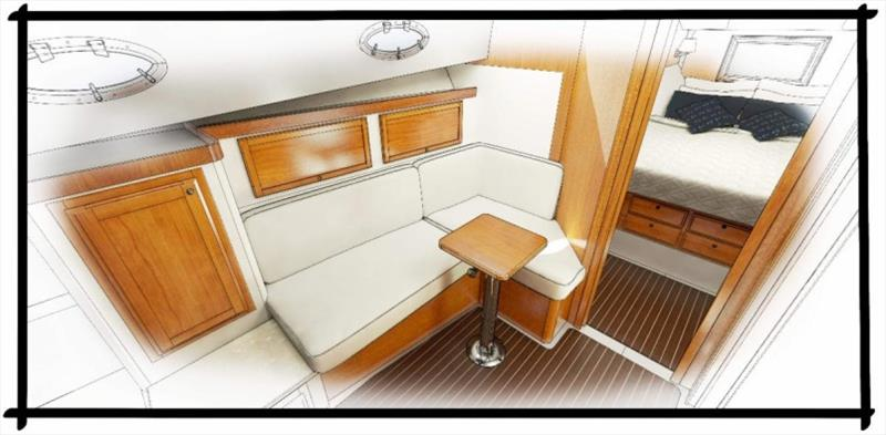 Lower lounge rendering - photo © Back Cove Yachts