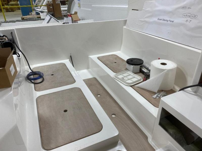 Guest berth molded in to the internal glass unit (right-side-up) - photo © Back Cove Yachts