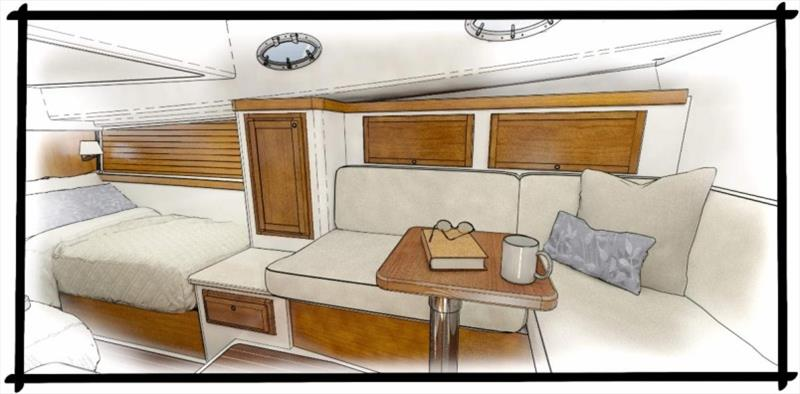 Lower lounge and guest berth rendering - photo © Back Cove Yachts