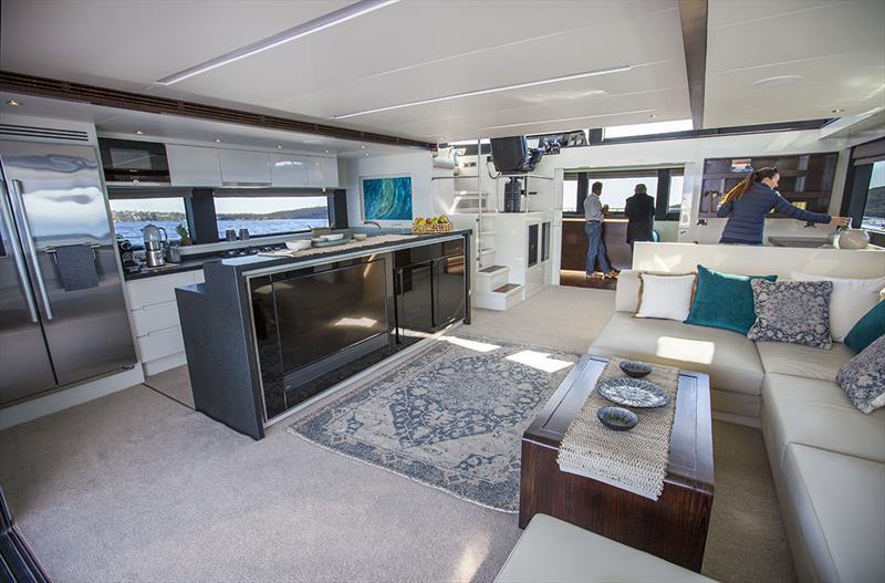 Massive entertaining spaces aboard the ILIAD 70 - photo © John Curnow