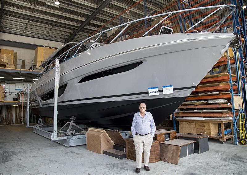 The great man, Bill Barry-Cotter, and his new Maritimo X50 - photo © John Curnow