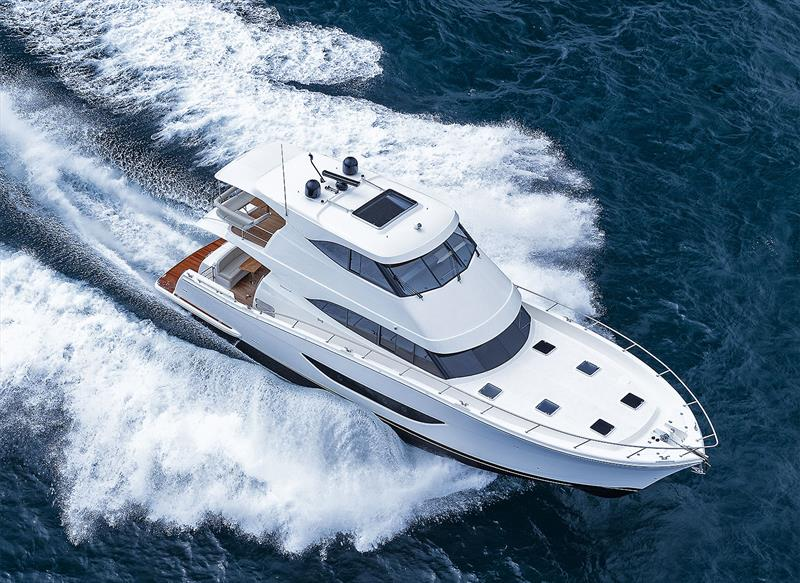 Powering along at sea with a 2020 model Maritimo M64 enclosed flybridge. - photo © Damien Bredberg