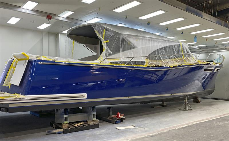 Displaying her true colours - the first Cape50 nears completion... - photo © Cape Motor Yachts