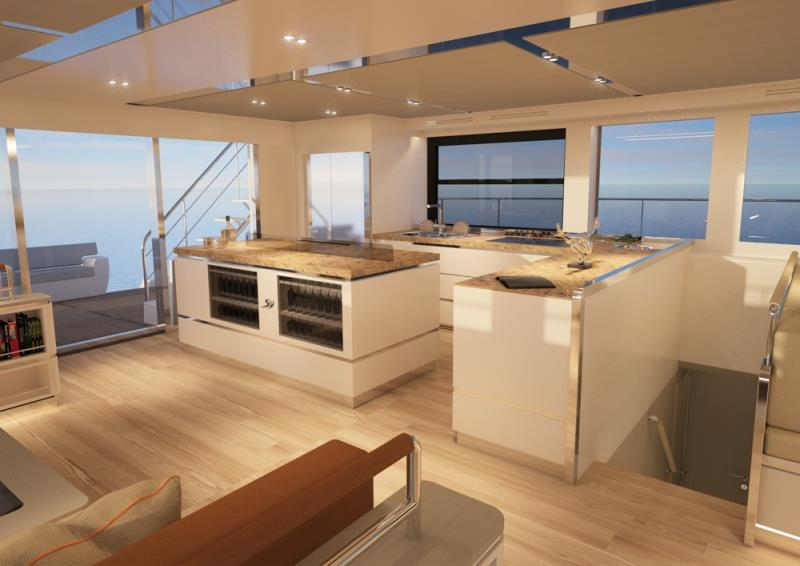 Silent 80 F Salon, Kitchen - photo © Silent Yachts