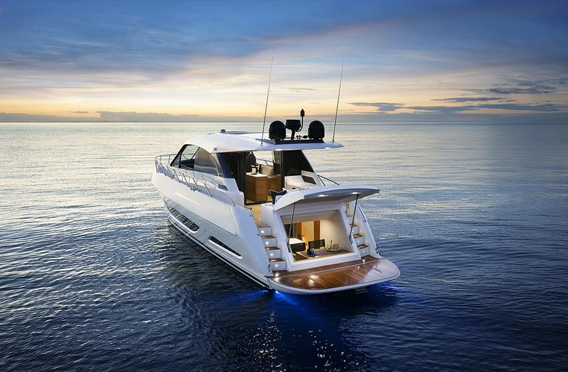 Maritimo X50 at dusk - what a way to relax... - photo © Maritimo