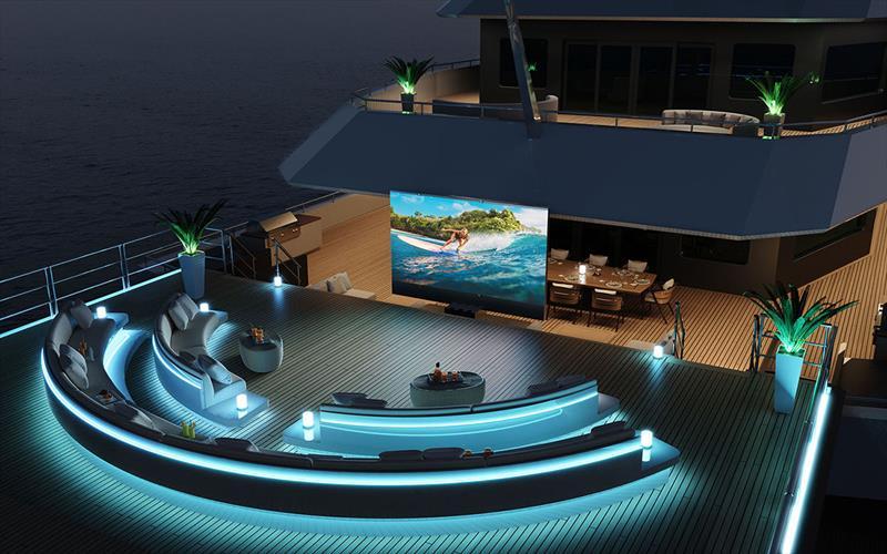Damen Yachting SeaXplorer 105 - Outdoor cinema with C-SEED screen - photo © John Gauldie