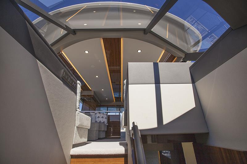 Atrium style access to lower deck is simply brilliant - New Maritimo M55 photo copyright John Curnow taken at  and featuring the Power boat class