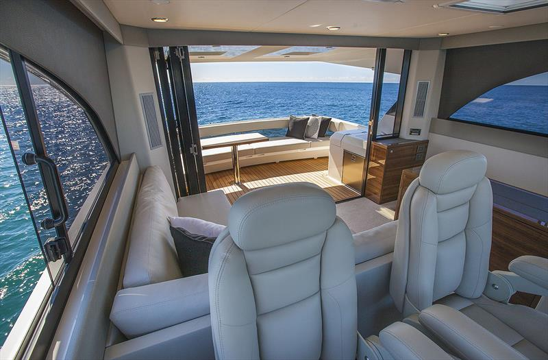 Just one of the places where you can feel the extra sense of space that the new Maritimo M55 imbues you with. photo copyright John Curnow taken at  and featuring the Power boat class