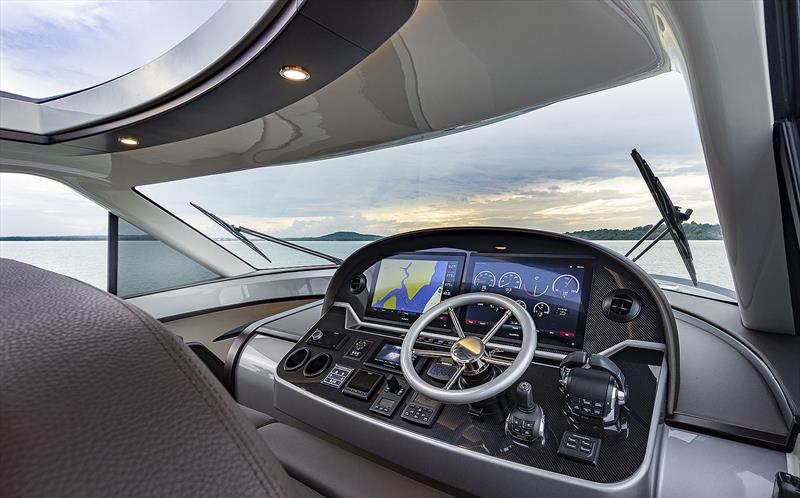Windshield of Palm Beach's GT60 is quite the marvel, aesthetically and engineering wise. - photo © Palm Beach Motor Yachts