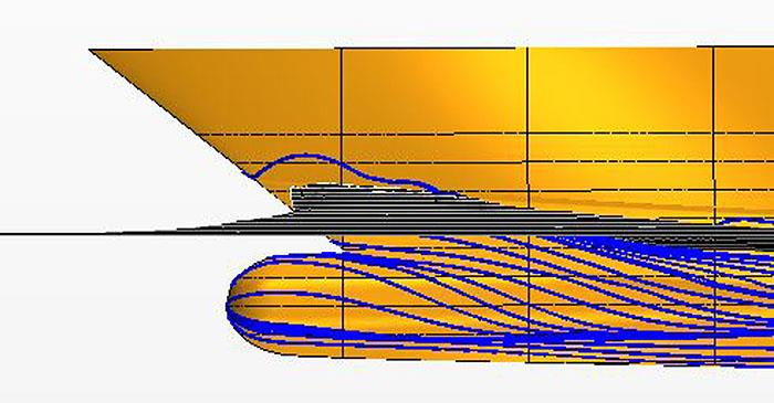 Computational Fluid Dynamics Model test image at 14 knots - photo © Bray Yacht Design And Research Ltd