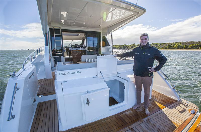 Cascades like rice fields in Bali. Tom Barry-Cotter on the Adventure deck of the new Maritimo S55 - larger console, further aft offers different access into the lazarette over her M55 sister. - photo © John Curnow