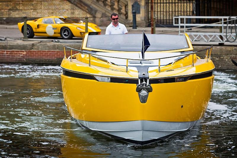 The Fairline F//LINE 33 and its design inspiration, the 1960s GT40 sports car, bringing the sunshine to Ipswich. - photo © Fairline Yachts