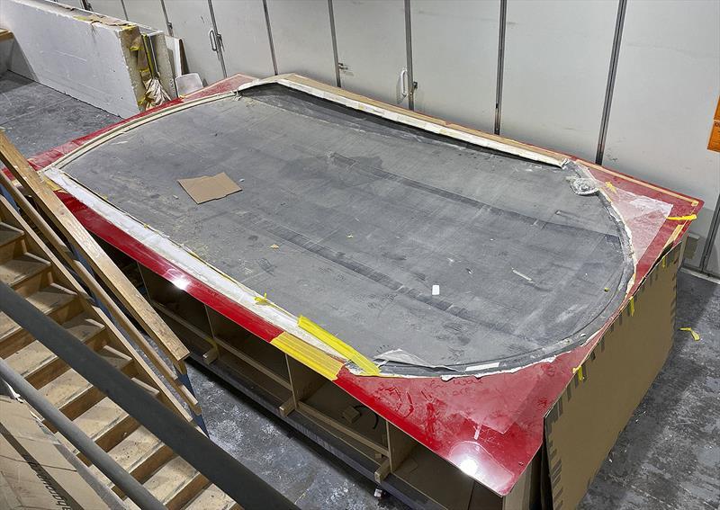 Carbon fibre coachhouse roof of the Cape50 in its mould - photo © Composites Constructions