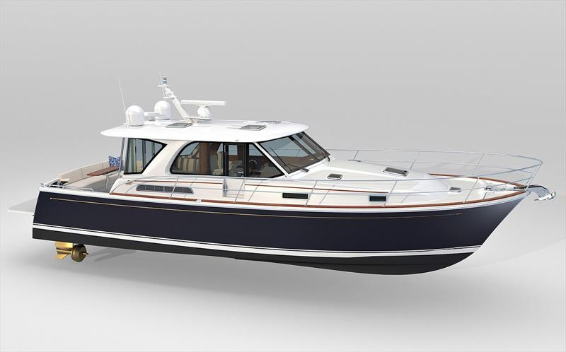 First reveal of new Sabre 43SE, which has clearly opted for pod drives, has a new coachhouse treatment, yet retains a traditional Downeast feel none the less. - photo © Sabre Motor Yachts
