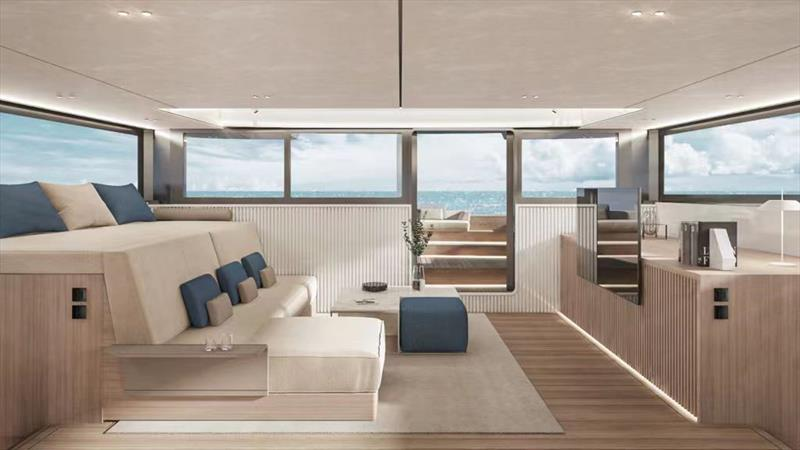 Looking forward on the main deck and out to the foredeck seating on the McConaghy MC82p - photo © McConaghy Boats