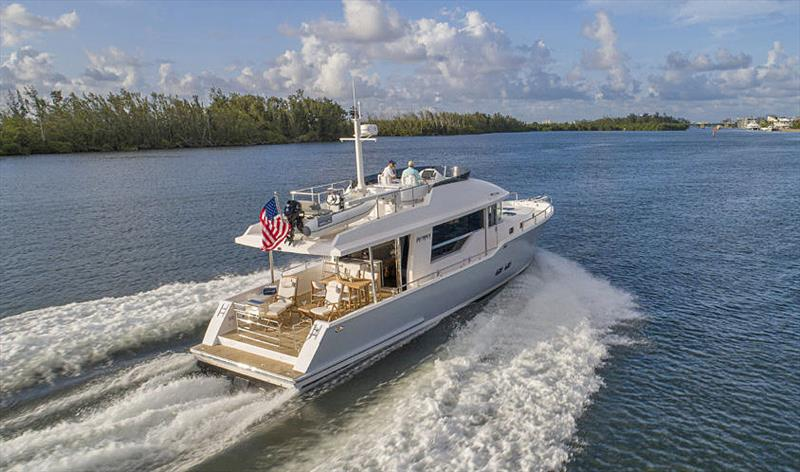 Cruise at 20 knots from a pair of 425hp Cummins Diesels - nice. - photo © Outback Yachts